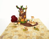 Woodland flower fairy complete pretend play set wood and felt peg doll with play mat, playscape nature, story teller, Waldorf toy set