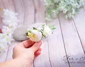 white flower comb  Rose Flower comb white peony Flower hair comb Wedding floral comb Bridal flower comb Boho head piece Floral bridesmaid