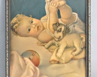 Vintage Holmwood Baby Lithograph Print