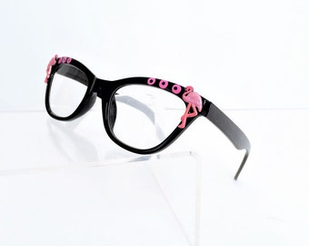 Flamingo Readers, Pink Flamingo Reading glasses, Pink and Black, Cat Eye Glasses +3.00