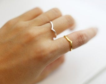 Chevron RIng  // Vermeil & Silver Ring // Cute and Dainty Gift for Her
