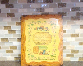 Vintage Wooden Kitchen Plaque/ Wall Hanging