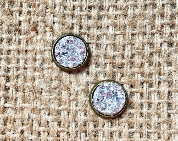 Silver Druzy Studs, Druzy Stud Earrings, Metallic Druzy Studs, Druzy Post Earrings, Gemstone Earrings, Faux Druzy Studs, Faux Druzy Jewelry