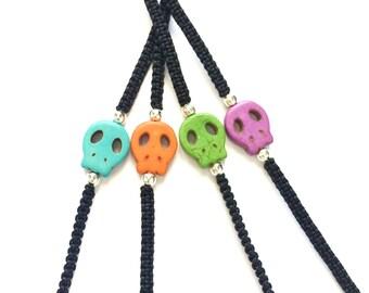 Tiny Skull Bracelet - Black Skull Bracelet - Gothic Skull Jewelry - Calavera Bracelet - Gothic Macrame Bracelet - Day of the Dead Jewelry
