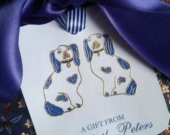 Handmade Blue and White Staffordshire Dog Gift Tags Labels Gold Embossed Personalized Party Supplies Hollywood Regency Preppy - Set of 6