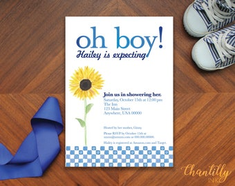 Watercolor Sunflower Baby Shower Invitation
