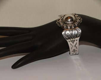 1940's Navajo Sterling Detail Cuff Bracelet.