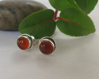 Silver carnelian stud earrings, 92.5 sterling silver, free shipping