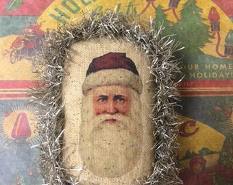 Vintage Style Santa Ornament with Silver Tinsel -   One Ornament