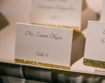 Wedding Place Cards - Wedding Glitter Escort Cards - Gold Glitter Seating Cards - Wedding Name Cards - Party Event Cards - Various Colors