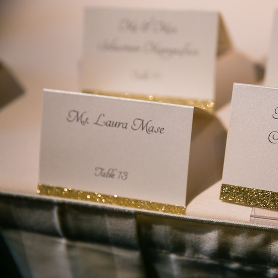 Wedding Seating Cards: Wedding Place Cards Wedding Glitter Escort Cards Gold