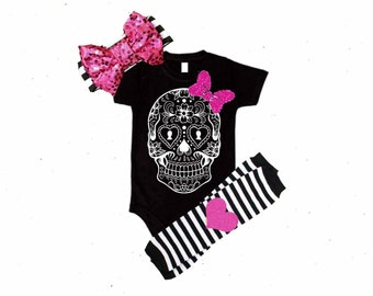 Black, White, & Pink Sugar Skull Bodysuit with Matching Leg warmers and Sequin Bow Headband Set- 3 piece set, newborn, toddler, infant