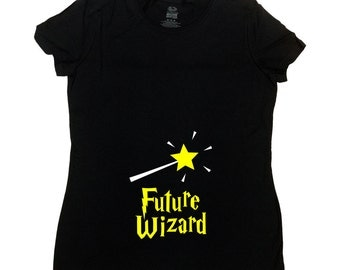 Funny Pregnancy T Shirt Expecting Announcement Pregnant Clothes Expecting Mother Gifts Baby Shower TShirt Future Wizard Ladies Tee - SA753