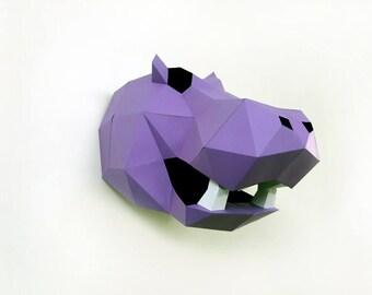DIY Papercrafts,Hippo,Hippopotamus,Hippo Head trophy,Hippopotamus Head Trophy,Wall decor,Wall hanging,Paper Hippo,Printable Hippo,DIY kits
