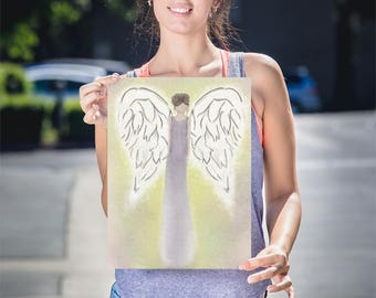 Guardian Angel Print, Watercolor Angel, Angel Art Print, Angel Artwork, Painting Of Angel, Angel Wall Decor, Angel Art Gift, Lustre Paper