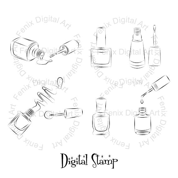 Digital Stamp,Clipart,Line art,Fashion Nail polish, Nail polish graphics,make up,Digi stamp,digistamp,fashion Illustration INSTANT DOWNLOAD