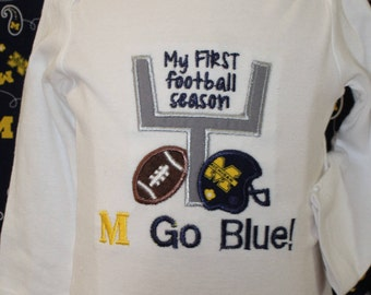 University of Michigan, Michigan Wolverines baby bodysuit, Michigan, Go Blue,Football baby bodysuit,Maize and Blue, M Go Blue baby shirt