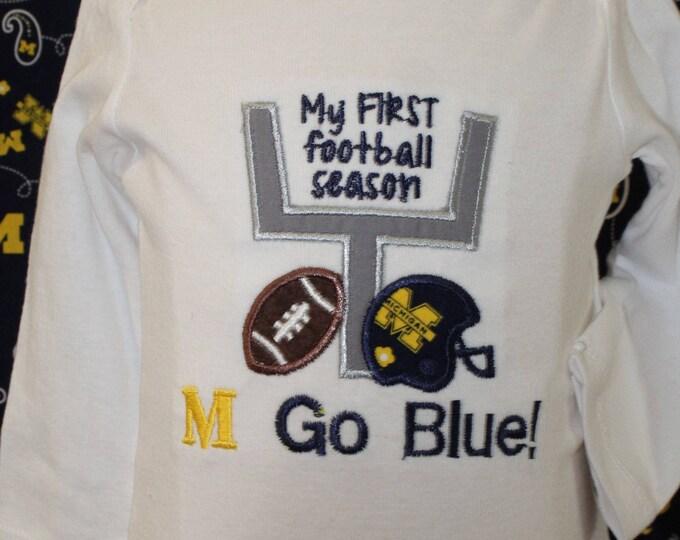 University of Michigan, Michigan Wolverines baby bodysuit, Michigan, Go Blue,Football baby bodysuit,Maize and Blue, M Go Blue baby shirt