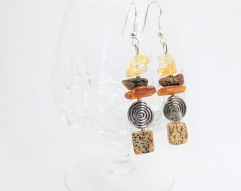 Long earrings with amber * nature * no 2 - gift-