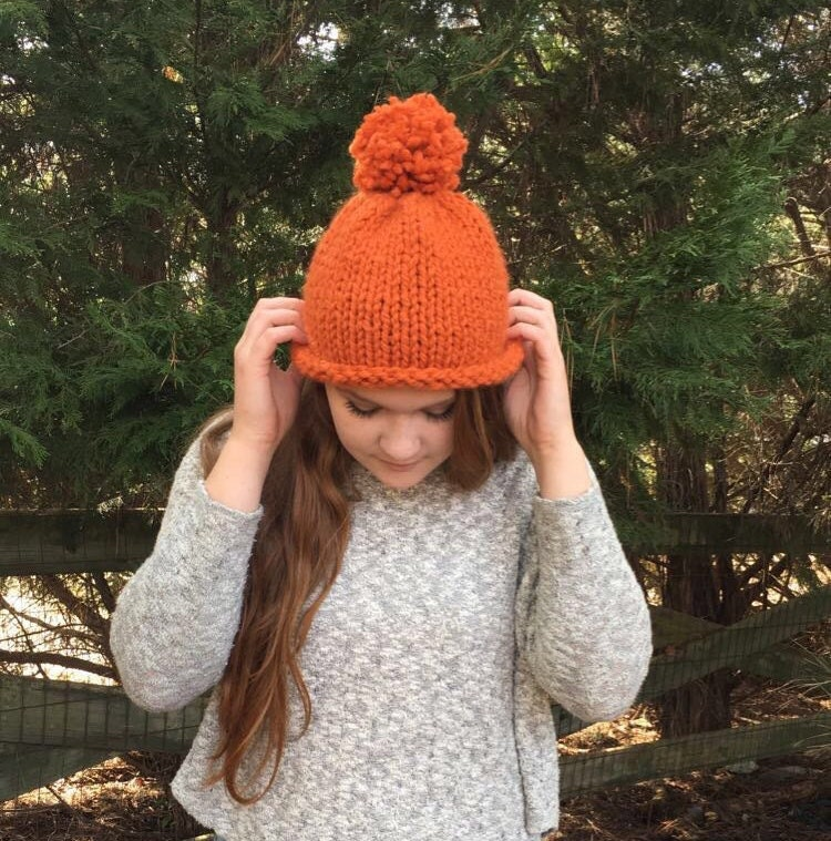 Roll Brim Unisex Knit Beanie Hat with Pom-Pom    Pumpkin Orange ... 574a965d89b
