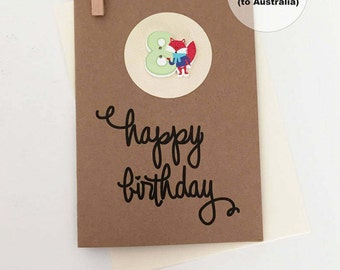 8th Birthday Card – 8th Happy Birthday Card – Age 8 Happy Birthday Card – Eighth Happy Birthday Card – Happy 8th Birthday Card