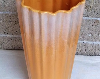 Royal Haeger Orange Vase R1406 - Large Ruffle and Fluted Top Vase with Drape Design - White Drip Glaze - Vintage Ceramic Pottery Art