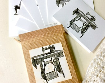 Vintage Sewing Machine Handmade Stationery Notecards Set of 10