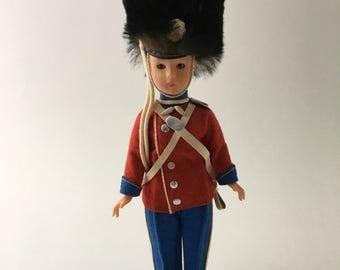 Vintage British soldier doll, British guard doll, London guard doll, Royal guard doll, vintage dress me doll, vintage royal soldier doll