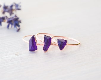 Amethyst ring - Rough amethyst ring - Raw amethyst ring - Birthstone ring - Gemstone ring - Crystal ring - Mineral ring - Boho ring