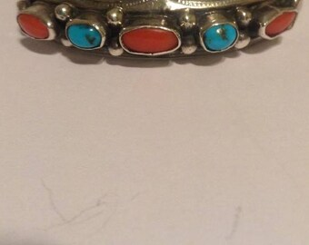 Vintage Native American Turquoise and Coral Cuff Bracelet Signed Irene Tsosie Sale
