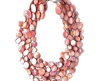 New Lustrous Multi Pink 6 Strands Of Mother Of  Pearl Coin Disc Necklace