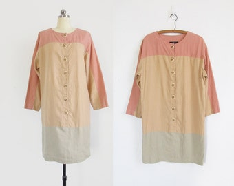 vintage linen tunic dress / long sleeve pastel colorblock dress - womens S