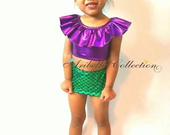 Mermaid Swimsuit, Two Piece, Ruffle Top, Swimwear, Bikini, Girls, Mermaid Bathing Suit, Little Mermaid, Birthday, Baby, Toddler, Costume