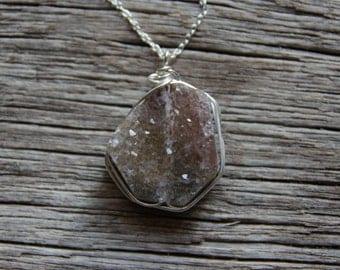 Silver Quartz Necklace / Druzy Necklace