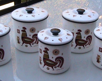 50s 5 pc GEORGE BRIARD Rooster Canister Set