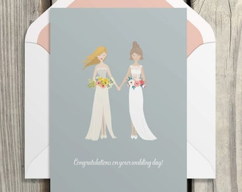 Lesbian wedding Congratulations card/ Mrs and Mrs instant download card/Printable Card, Bride and bride /PDF instant download