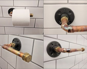 Toilet Roll Holder Industrial Steampunk Toilet Roll Storage Copper And Black Iron