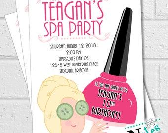 Spa Party Invitation, Girls Spa Party, Manicure Invitation, Spa Birthday Party, Salon Invite, Teen Spa Invitation, Pampering | PRINTABLE