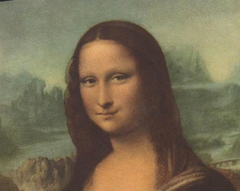 Mona Lisa 1504 Painting as Vintage Lithograph after Da Vinci at Louvre Museum, Paris.  Litho Made USA 1937 A1 Those Eyes, That Smile