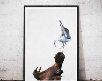 Hippo Art Wall, Zoo Nursery Prints, Zoo Animals Nursery, Hippopotamus Decor, Zoo Animal, Hippo Nursery Art, Nursery Art Zoo, Zoology Gift