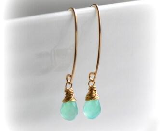 Chrysoprase Earrings, Green Chrysoprase Dangle Earrings, Delicate Chrysoprase Earrings in Silver Gold or Oxidised, Gift for Her by Blissaria