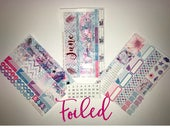 Pink Foiled June Vertical and Horizontal Monthly Calendar View Planner Stickers for Erin Condren LifePlanner