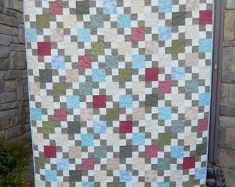 Modern Lap Quilt, 4 Patch, Patchwork Quilt, Quilts for Sale, Handmade Blanket Throw, Quilt for a Man