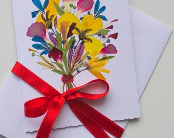 Mother Day card Pressed flower card OOAK Greeting card Mothers day gift  Deckled Edge paper card Handmade card