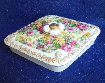 Floral Trinket Box - Porcelain Trinket Box - Candy Dish