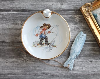Vintage french Baby dinnerplate, children dinnerplate, Porcelain from Limoges France