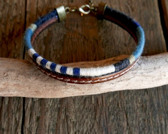 Leather bracelet, Men Bracelet, Mens Gift, Nautical bracelet, Men Jewelry, Woven bracelet, Dad gift, Boho bracelet, Tribal bracelet