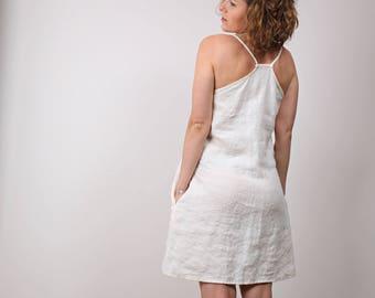 Cream White Linen dress, Loose Sundress with straps, Sleeveless flax summer dress.