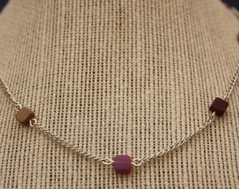 up-cycled square bead and silver chain necklace
