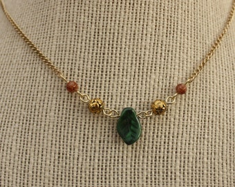 upcycled leaf and rose bead necklace